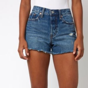 Levi's Wedgie In All Blue Button Fly Denim Shorts